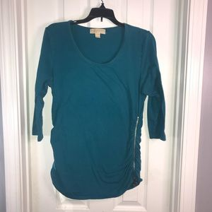 MICHAEL Michael Kors Teal Ruched 3/4 Sleeve Top L